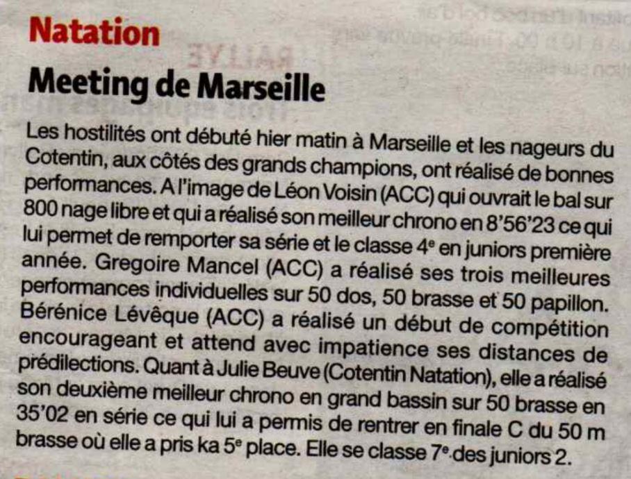 Article de presse meeting de marseille aquatic club for Chambre de commerce marseille horaires